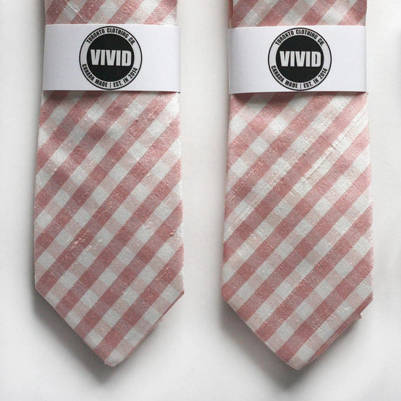 Dusty Pink Gingham Tie - Raw Silk Ties - Blush Wedding Neck Ties - Rose Gold Tie - Blush Pink Ties - Groomsmen Ties