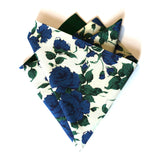 Floral Pocket Square. Liberty of London. Emerald Green, Blue and Off-White.