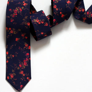 Navy Blue and Coral Floral Neck Tie, Liberty of London