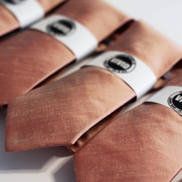 copper tie copper rose gold wedding groomsmen raw silk neck ties