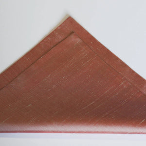 copper rose gold raw silk pocket square