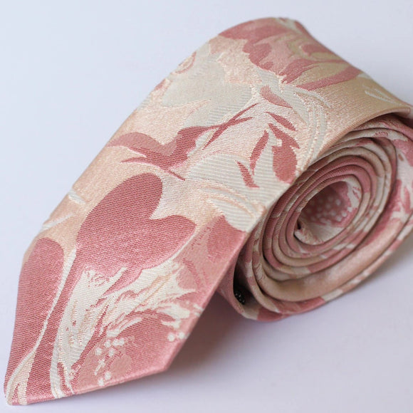 rose gold jacquard floral neck tie