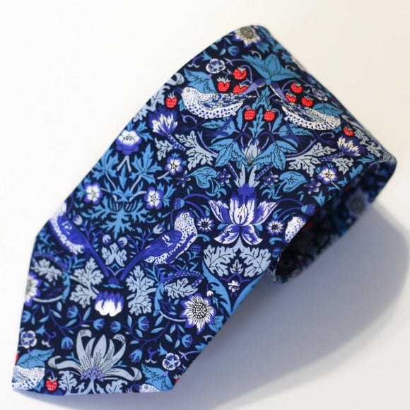 Royal Blue and Red Floral Neck Tie, Liberty of London, Strawberry Thief