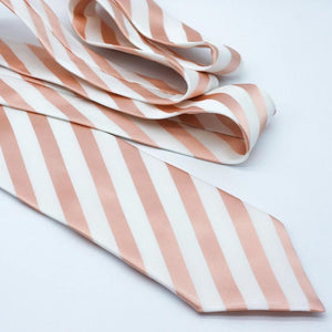 rose gold and white striped neck tie for wedding