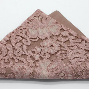 Rose Gold Lace Floral Pocket Square.