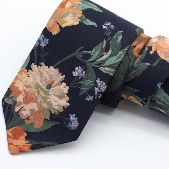 Black and Copper Floral Neck Tie, Decadent Blooms