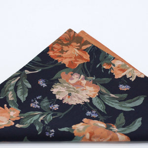 Floral Pocket Square. Liberty of London. Decadent Blooms. Copper and Black