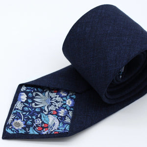 Dark Royal Blue Rustic Linen Neck Tie Strawberry Thief Liberty London