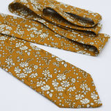 Mustard Yellow Floral Neck Tie, Liberty of London, Capel
