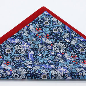 floral pocket square blue and red liberty of london strawberry thief