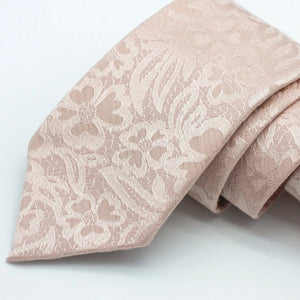 Rose Gold Floral Tie - Floral Brocade - Tone on Tone - Rose Gold Wedding Neck Ties - Blush Tie - Blush Pink Ties - True Rose Gold