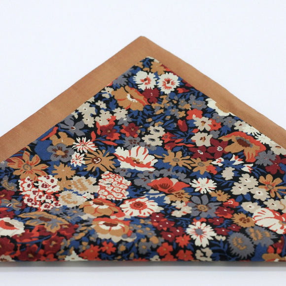 Floral Pocket Square. Liberty of London. Muted Red, Blue and Copper.