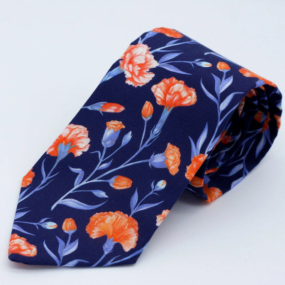 Floral Neck Tie in Navy Blue and Coral - Cloves, Carnations - Liberty of London