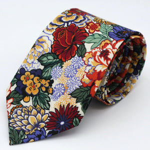 Floral Neck Tie - Burgundy, Wine Red, Emerald Green, Blue and White - Liberty of London