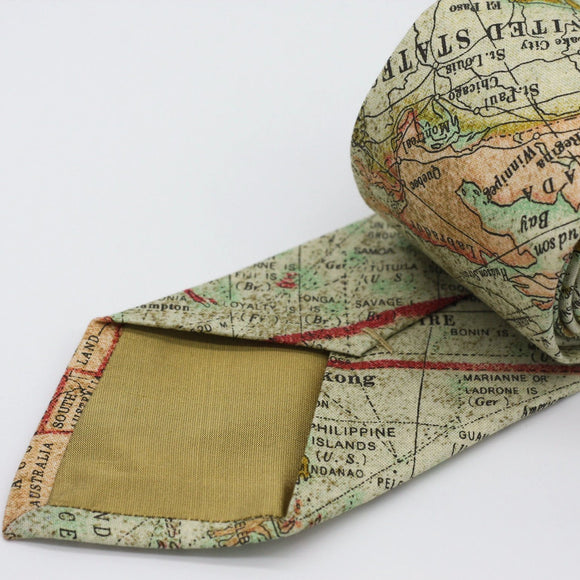 World Map Neck Tie, Traveler's Gift, Japanese Cotton