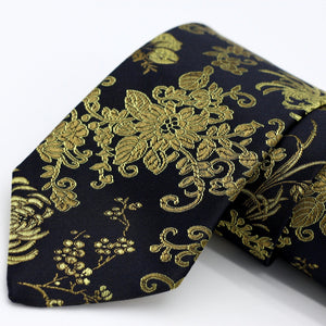 Black and Gold Silk Neck Tie