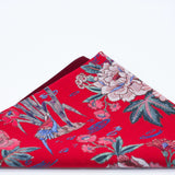 Coral Red and Classic Blue Floral Pocket Square - Liberty of London - Coral Red Wedding - Groom, Groomsmen - Large Floral, Birds Print