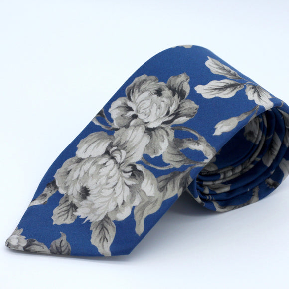 Classic Blue and Steel Gray Neck Tie Liberty of London