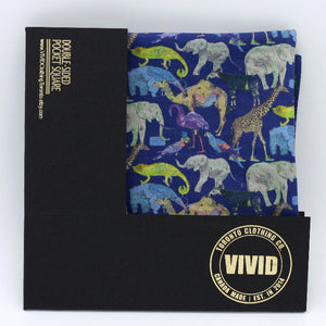 animal lover pocket square liberty london blue
