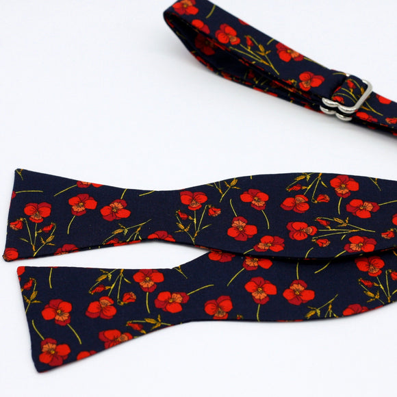 Navy Blue and Red Floral Bow Tie - Liberty of London - Red Poppy Flowers Tie - Blue and Red Wedding - Dark Blue Tie, Small Floral Print