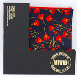 Navy, Red Poppies Pocket Square - Liberty of London - Navy Blue and Red Wedding - Groom, Groomsmen- Floral Pocket Square