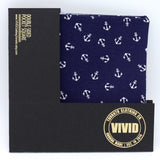 Navy Blue and White Anchors Pocket Square - Nautical Pocket Square - Reversible - Japanese Cotton