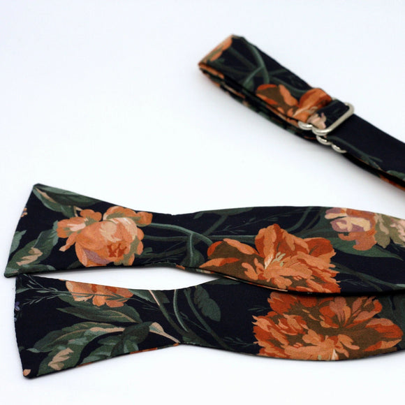 Floral Bow Tie - Black and Copper Tie - Liberty of London - Copper Wedding Bow Ties - Groom, Groomsmen Bowties
