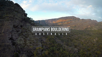 Athlete Christopher Miller bouldering in the Grampians, Australia