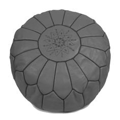 Gray Leather Pouffe Decorated With Black