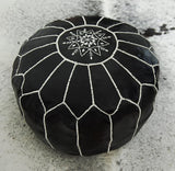 Black leather Pouffe decorated with white