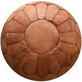 Moroccain Brown Leather Pouffe