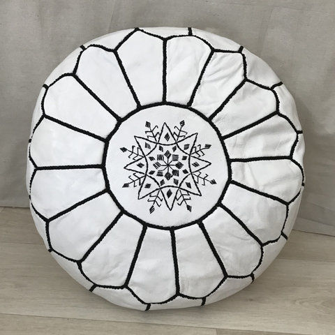 White Leather Pouffe Decorated With Black