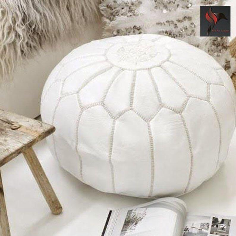 White Leather Pouffe