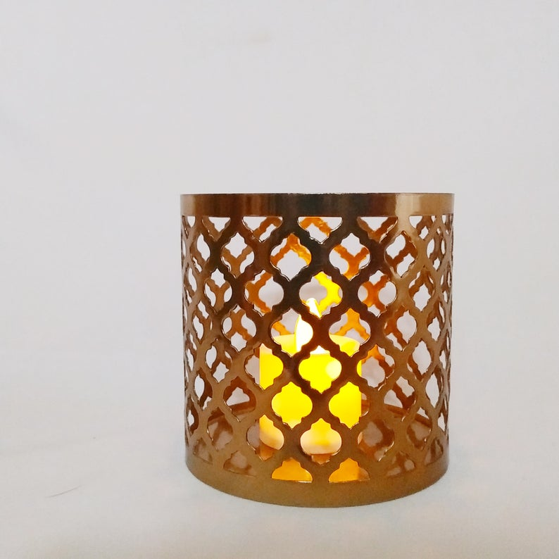 Moroccan Candle Holder Cylindrical Copper