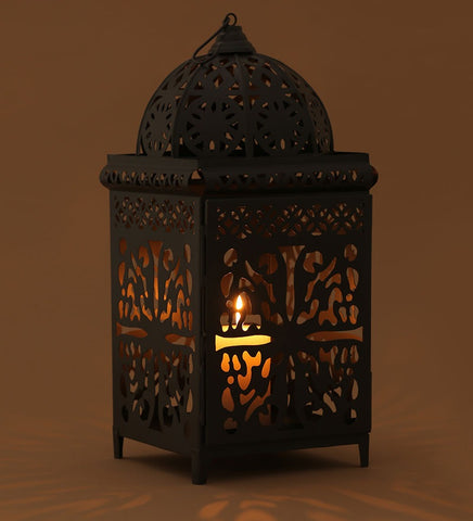 Grey Moroccan Candle Lantern