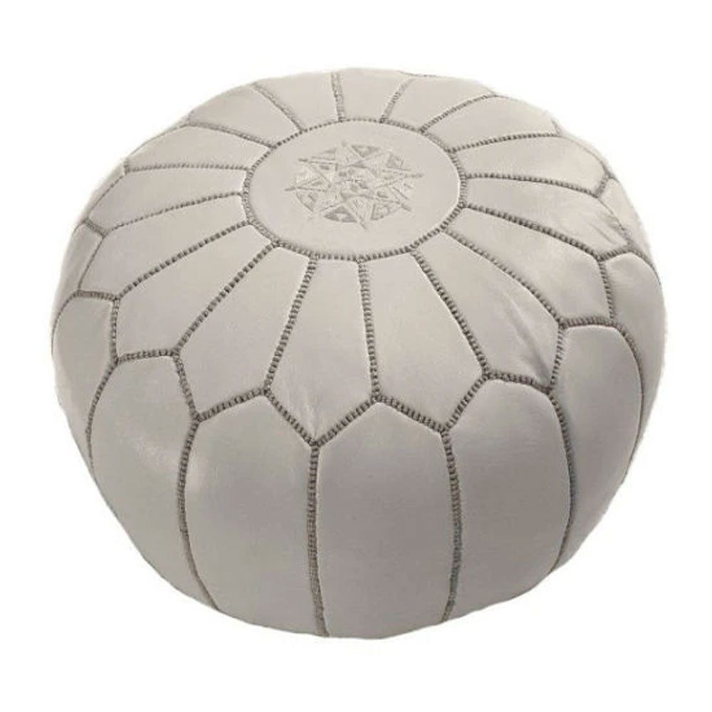 Grey Leather Pouffe