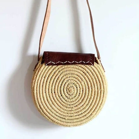 BROWN SUN ROUND RAFFIA STRAW BAG