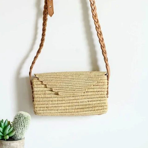 ENVELOPE RAFFIA LEATHER STRAW BAG