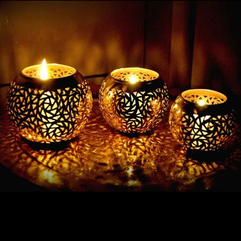 Moroccan Candle Holder Brass