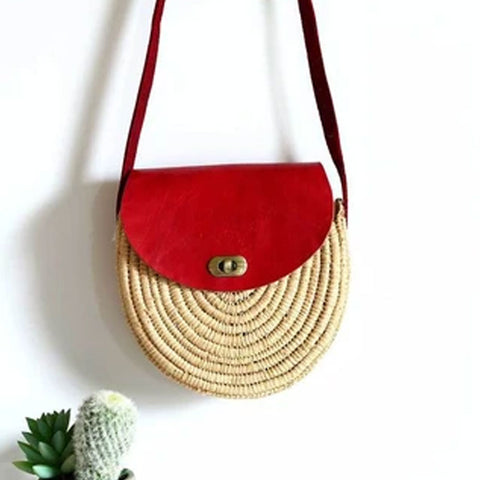 RED ROUND RAFFIA STRAW BAG