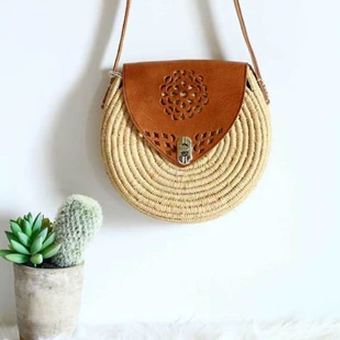 ROUND FLOWER RAFFIA AND LEATHER BAG