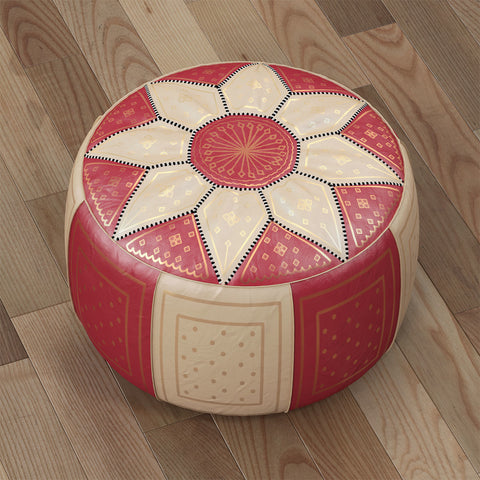 Tooled Leather Pouffe
