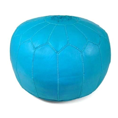 Blue Leather Pouffe
