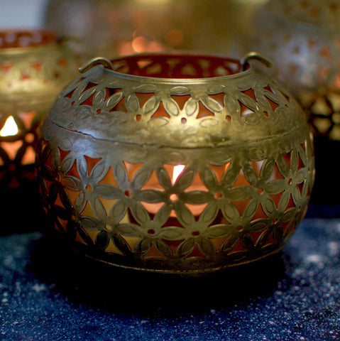 Small Moroccan Candle Holder Sphere Copper