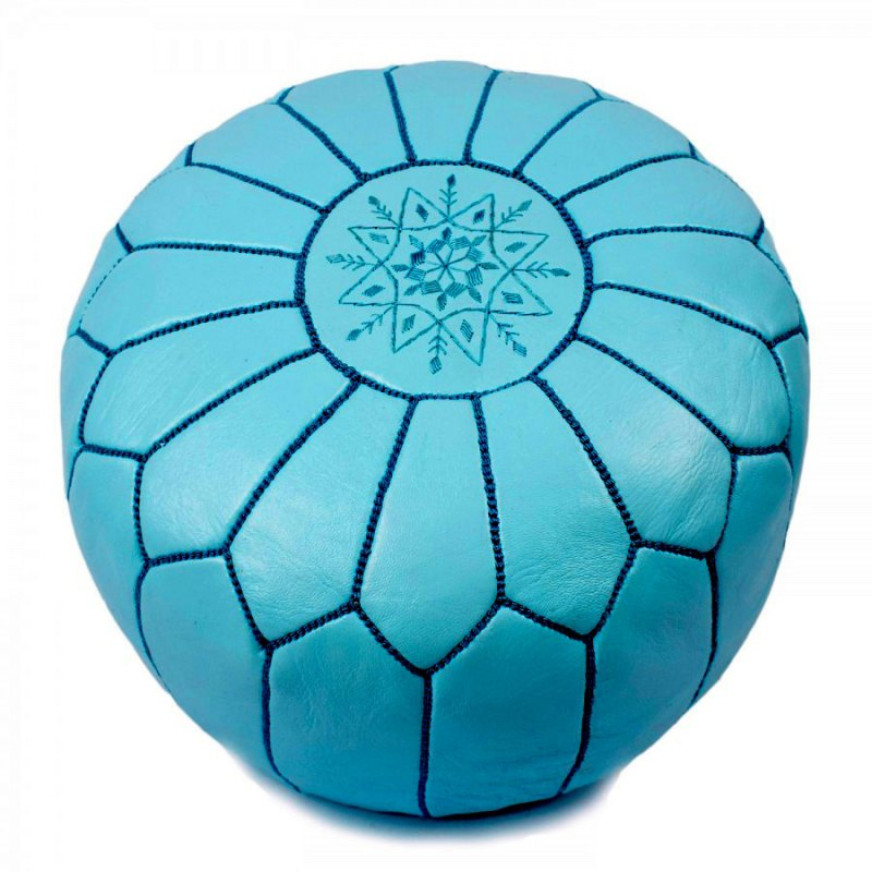Blue Leather Pouffe Decorated With Black