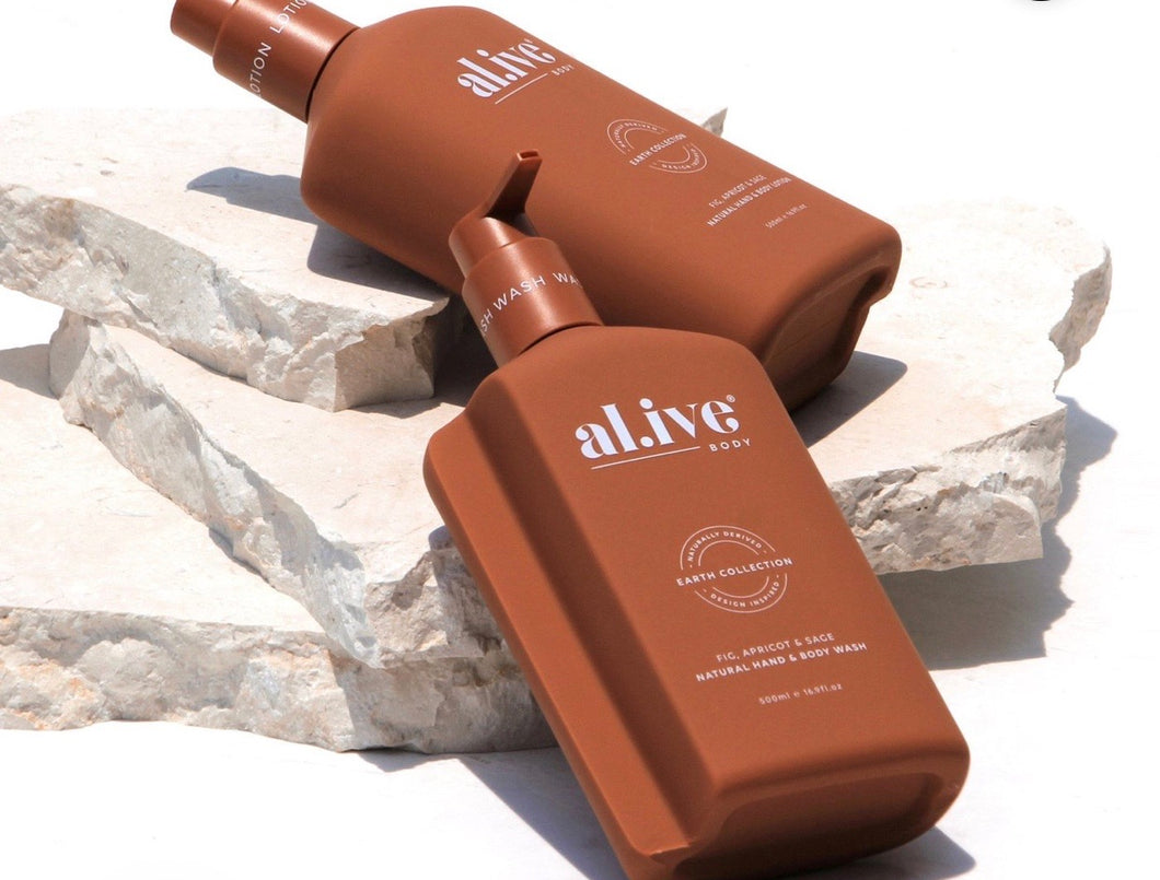AL.IVE BODY WASH & LOTION DUO WITH TRAY FIG , APRICOT & SAGE