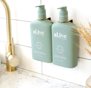 AL.IVE BODY WASH & LOTION DUO WITH TRAY KAFFIR LIME & GREEN TEA