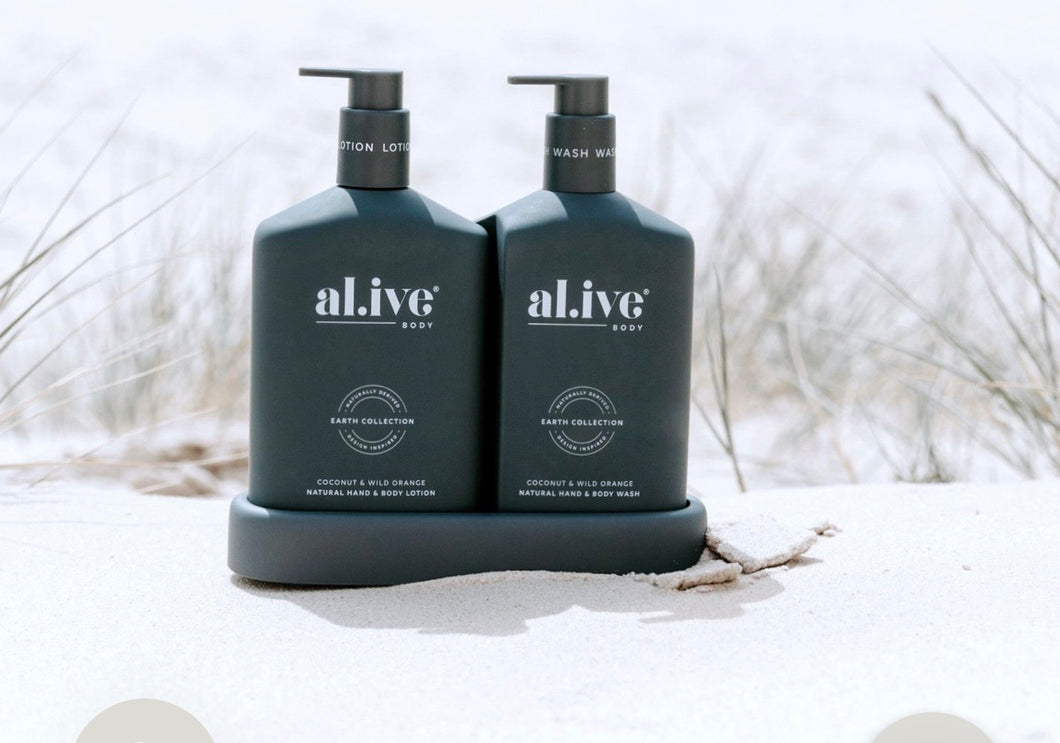 AL.IVE BODY WASH & LOTION DUO WITH TRAY COCONUT & WILD ORANGE