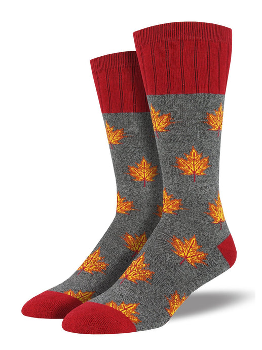 SOCKSMITH-H-CHAUSSETTES OUTLANDS MAPLE LEAF-CHARCOAL