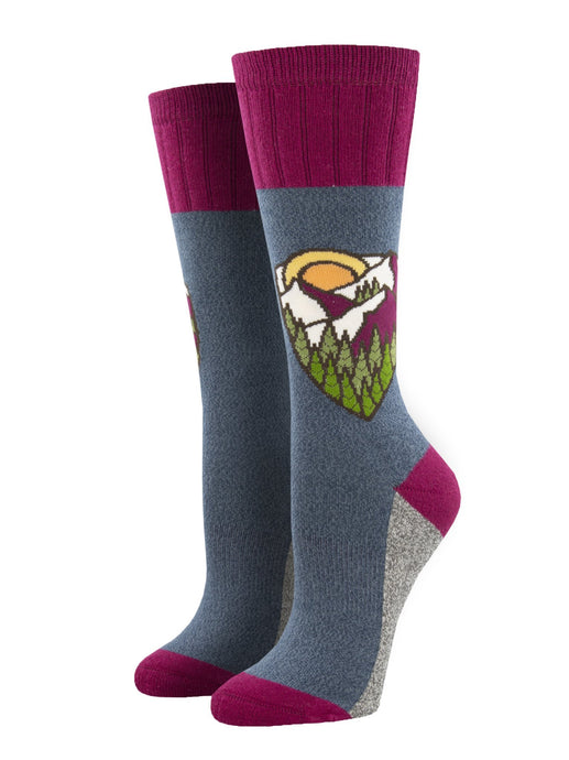 SOCKSMITH-H-CHAUSSETTES OUTLANDS MOUNTAIN TOP-BLEU